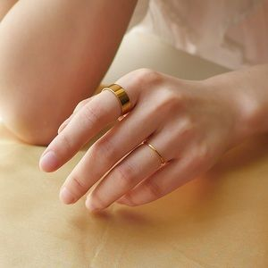 18K Gold Plated 6mm Flat Band Ring